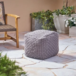 Calero Outdoor Modern Boho Pouf by Christopher Knight Home