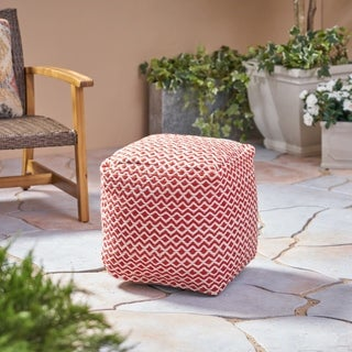 Agonda Outdoor Modern Boho Pouf by Christopher Knight Home