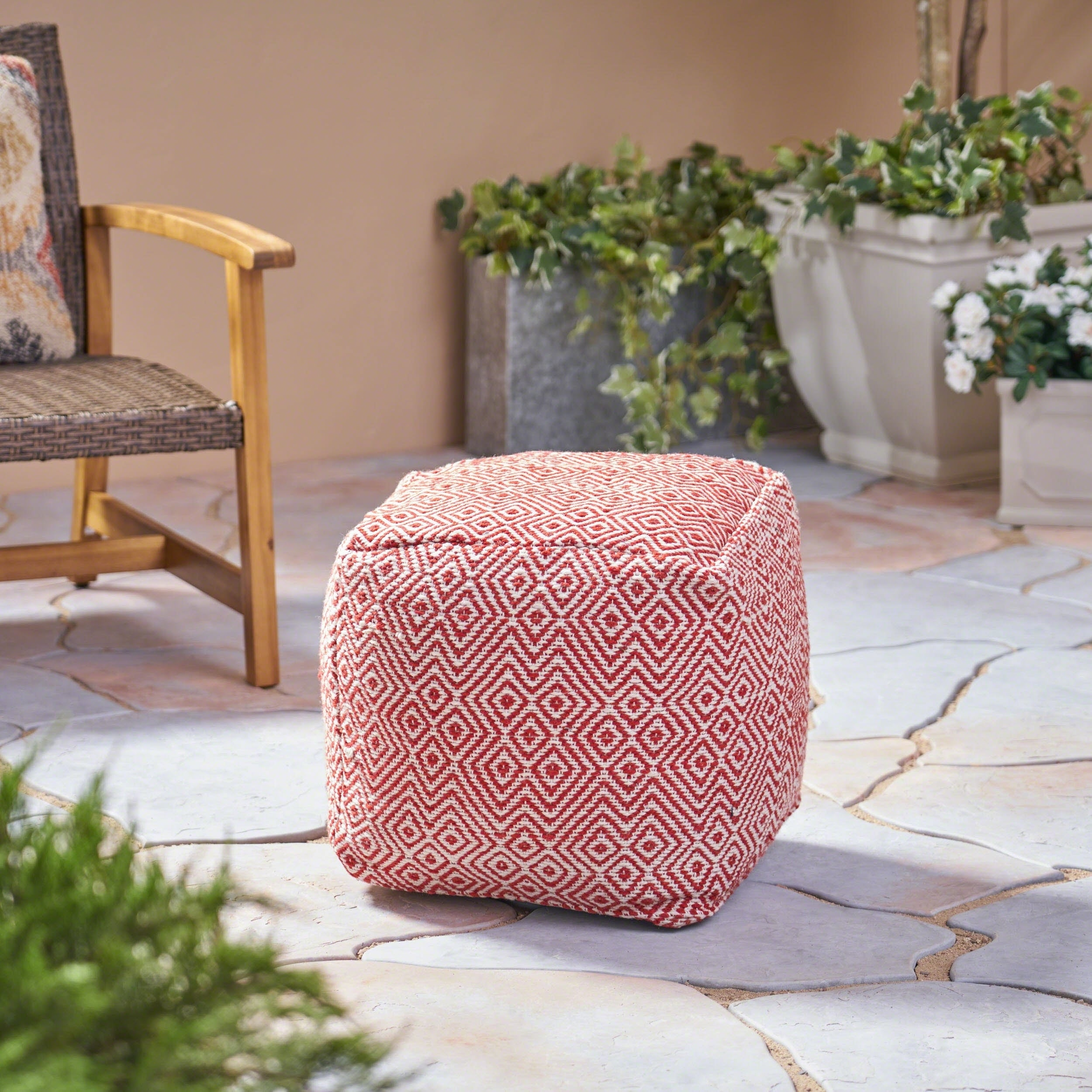 Martos Outdoor Modern Boho Pouf by Christopher Knight Home (ivory with red)