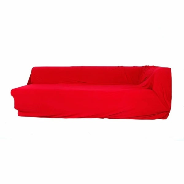 Beau Spandex 2 Seats 2 Seats L Shaped High Elasticity Sofa Covers Red