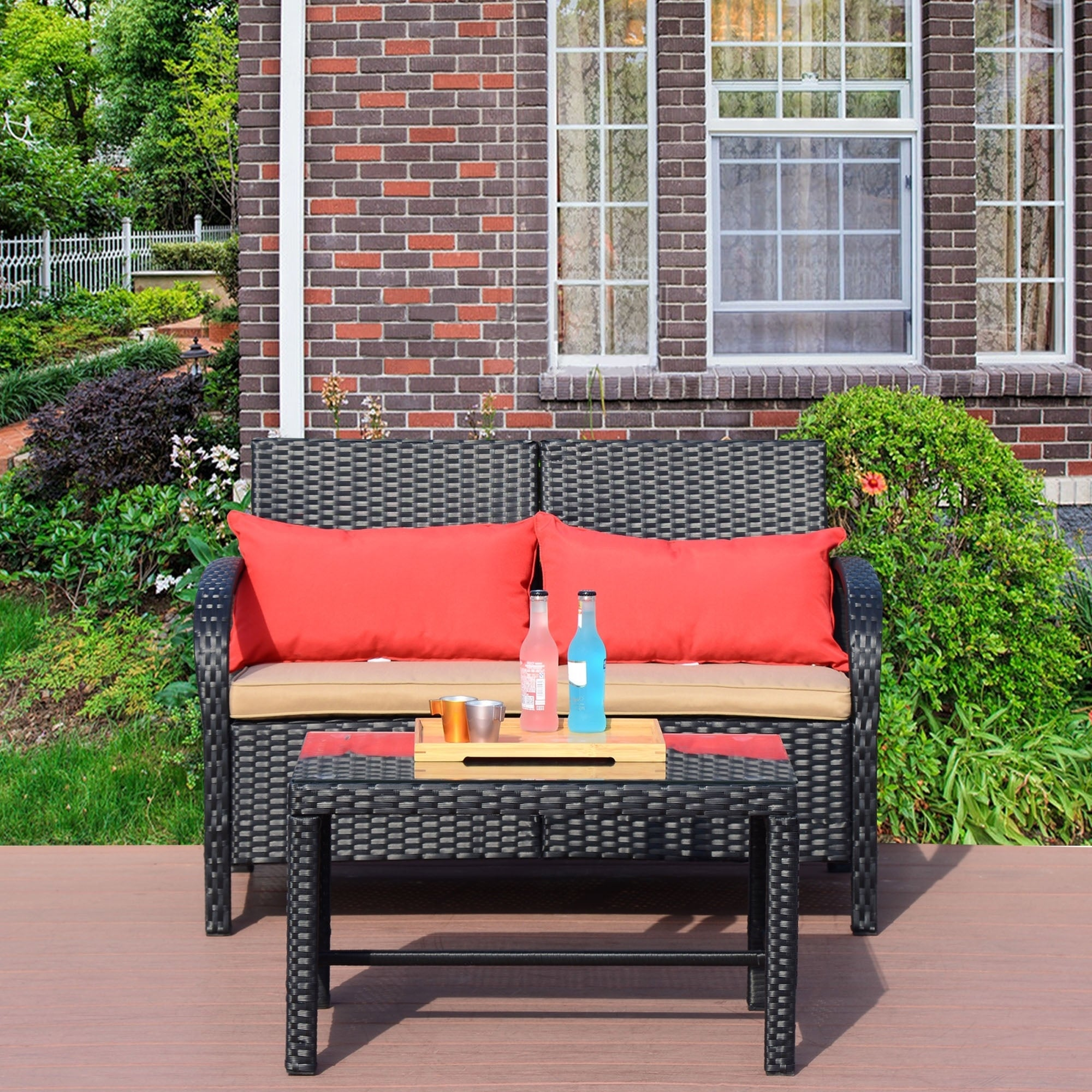 2 PC Rattan Loveseat Sofa Furniture Bistro Set Outdoor Wicker Patio Garden Loveseat, Black Rattan with Khaki Cushions (Backed/Cushion Included -