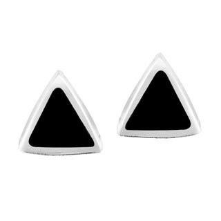 Handmade Little Triangles Inlay on Sterling Silver Stud Earrings (Thailand)