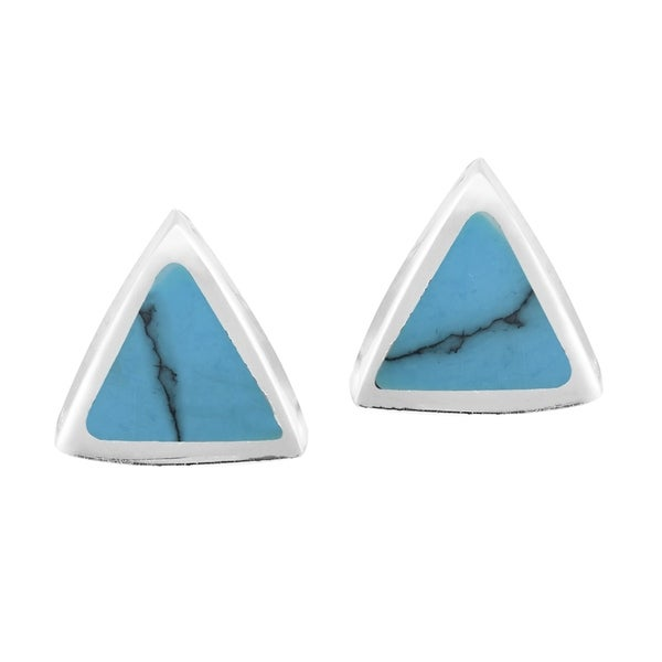 95401c306 Handmade Little Triangles Inlay on Sterling Silver Stud Earrings (Thailand)