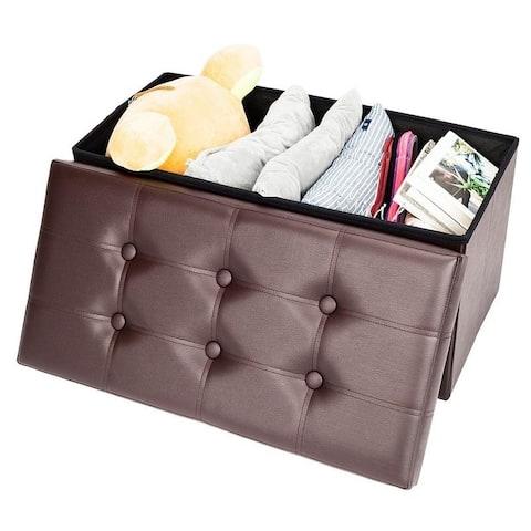 Practical PVC Leather Rectangle Storage Ottoman Bench