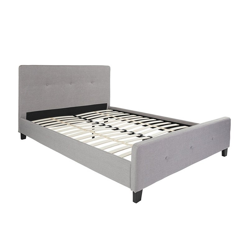 Offex Tribeca Queen Size Tufted Upholstered Platform Bed in Light Gray Fabric