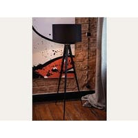 Stiletto Black Metal/Poly-cotton Tripod Floor Lamp