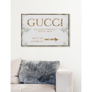 Modern Oliver Gal 'Italian Luxe Road Sign' Gold Framed Wall Art Canvas - Multi-color