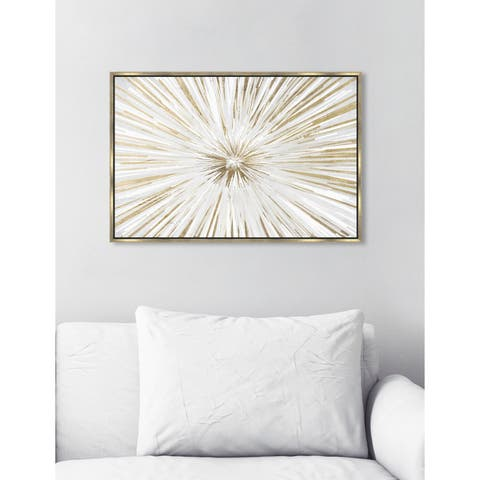 Modern Oliver Gal 'Sunburst New Dawn' Gold and White Abstract Framed Wall Art Canvas - Multi-color