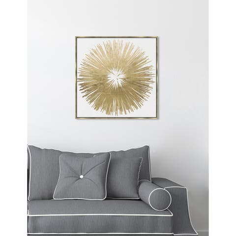 Modern Oliver Gal 'Sunburst Golden' Gold/ White Abstract Framed Wall Art Canvas