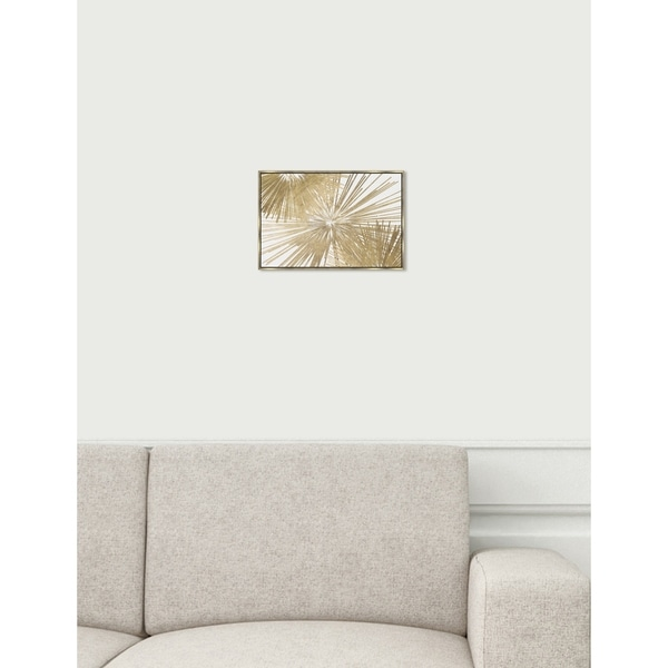 Modern Oliver Gal 'Sunburst Glam Luxe Day' Gold/ White Abstract Framed Wall Art Canvas