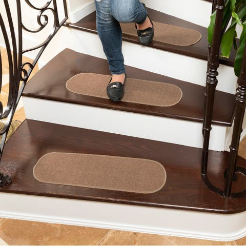 """Ottomanson Escalier Non-Slip Backing Solid Beige Oval Stair Treads - 8.5"""" x 26"""" Oval (set of 5)"""