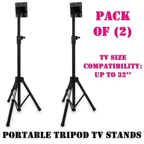 Lot of 2 Pyle Portable Tripod TV Stand, LCD Flat Panel Monitor Mount