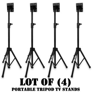 Lot of 4 Pyle Portable Tripod TV Stand, LCD Flat Panel Monitor Mount
