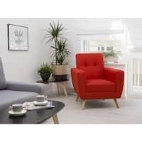 Herning Red Fabric/Birchwood Armchair