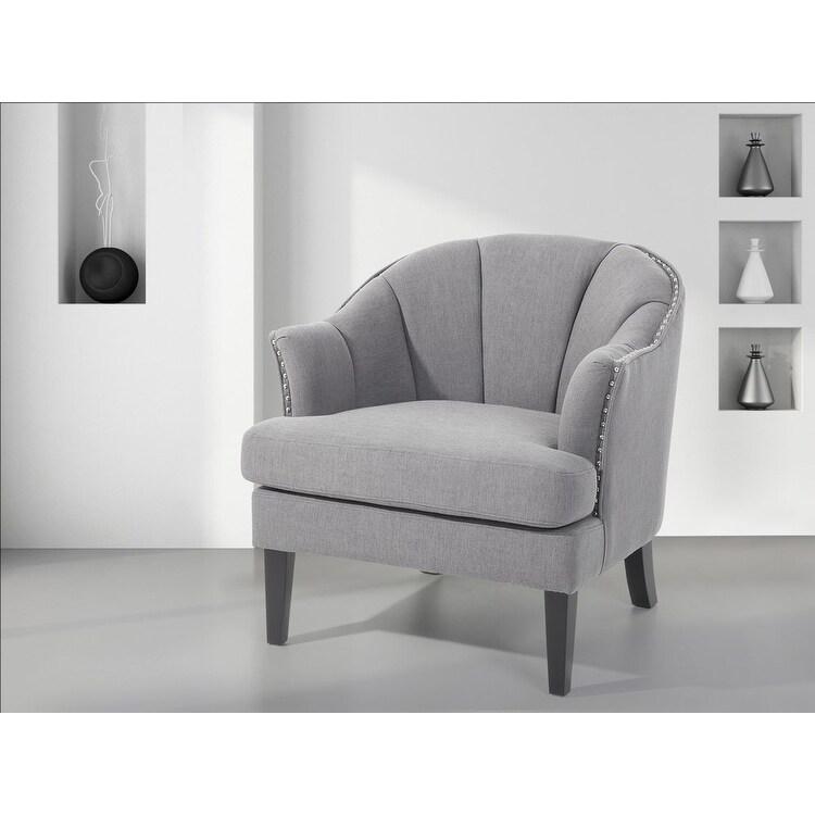 Elverum Nailhead Trim Grey Upholstered Wooden Armchair