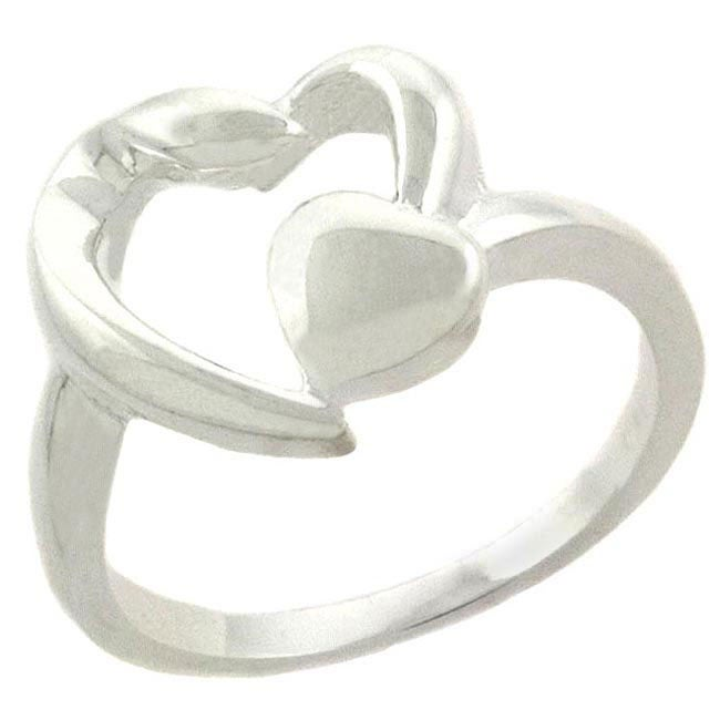 Mondevio Sterling Silver Double Heart Ring - White