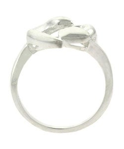 Mondevio Sterling Silver Double Heart Ring - Thumbnail 1