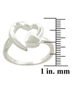 Mondevio Sterling Silver Double Heart Ring - Thumbnail 2