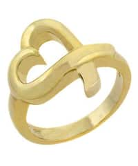Mondevio 18k Yellow Gold over Sterling Silver Heart Ring