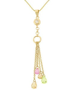 Icz Stonez 18k Gold over Sterling Silver CZ Dangle Pendant
