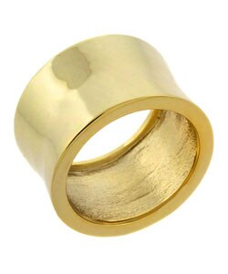 Mondevio 18k Over Sterling Silver Shiny Concave Pipe Ring (5 options available)