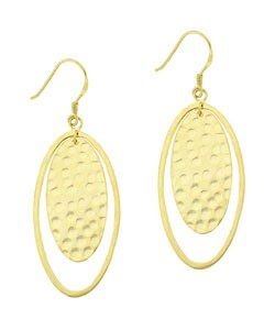 Mondevio 18k Gold over Silver Oval Hammered Dangle Earrings