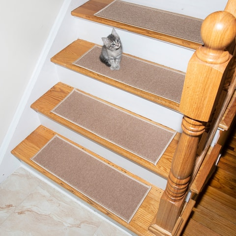 "Non-Slip Backing Escalier Solid Light-Beige Stair Treads (Set of 13) - 8.5"" x 26"""