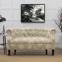 Handy Living Chesterfield Taupe Floral Loveseat