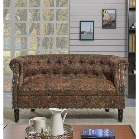 Handy Living Chesterfield Paisley Loveseat