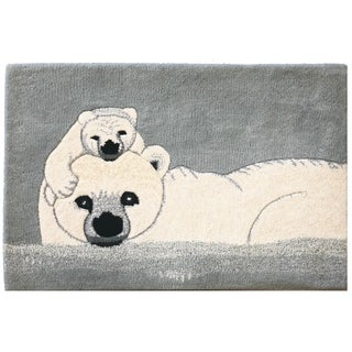 Handmade Novelty Bear Animal Print Natural Wool Rug - 2' x 3'