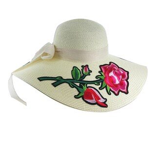 "Faddism Womens ""Rosa"" Straw Sun Hat (Option: Beige)"