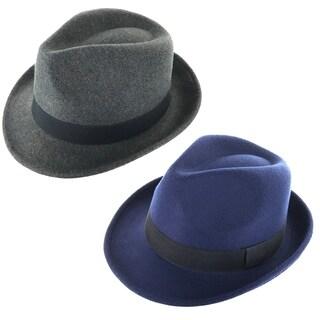 Faddism Classic Velvet Cuban Style Short Brim Fedora Hat