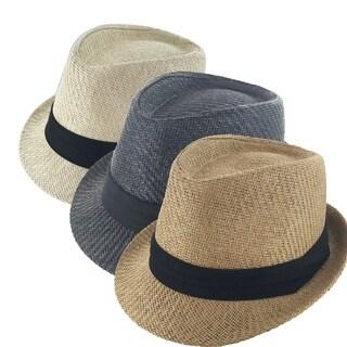 Faddism Traditional Cuban Style Regular Brim Fedora Straw Hat