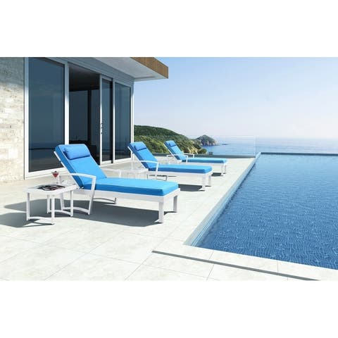 Renava Tampa Outdoor Blue and White Sun Bed and End Table Set