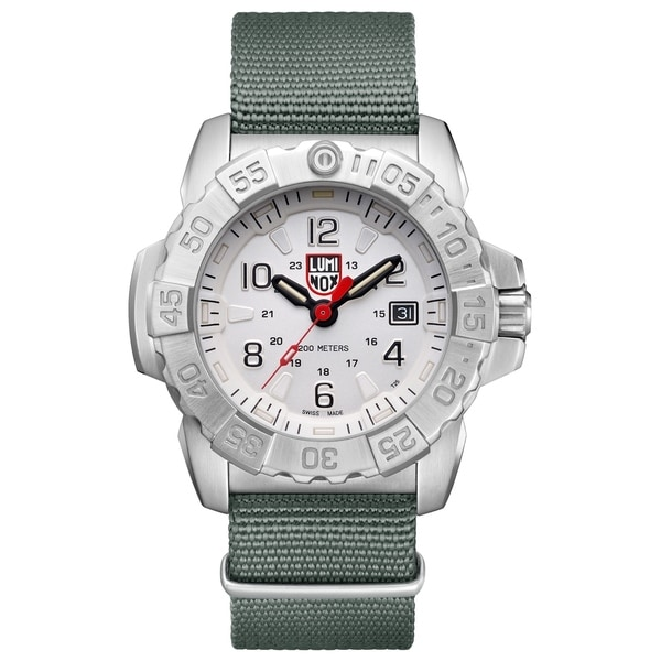 4cefb0f39120 Shop Luminox Men s 3257 Navy Seal Stainless Green Nylon Strap Watch - Free  Shipping Today - Overstock - 22493272