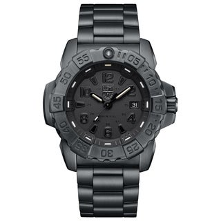Link to Luminox Men's 3252.BO Navy Seal Black-Out Stainless Bracelet Watch Similar Items in Men's Watches