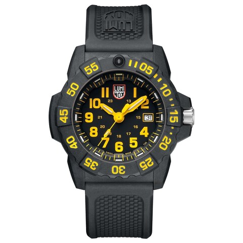 Luminox Men's Navy Seal 3500 Black Carbon Yellow Accent Dial Strap Watch - N/A