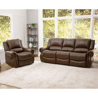 Abbyson Calabasas Mesa Brown Leather 2 Piece Reclining Living Room Set