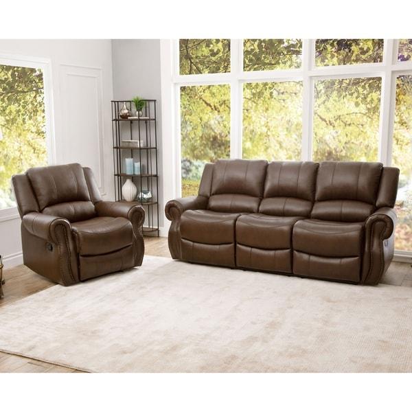 Shop Abbyson Calabasas Mesa Brown Leather 2 Piece