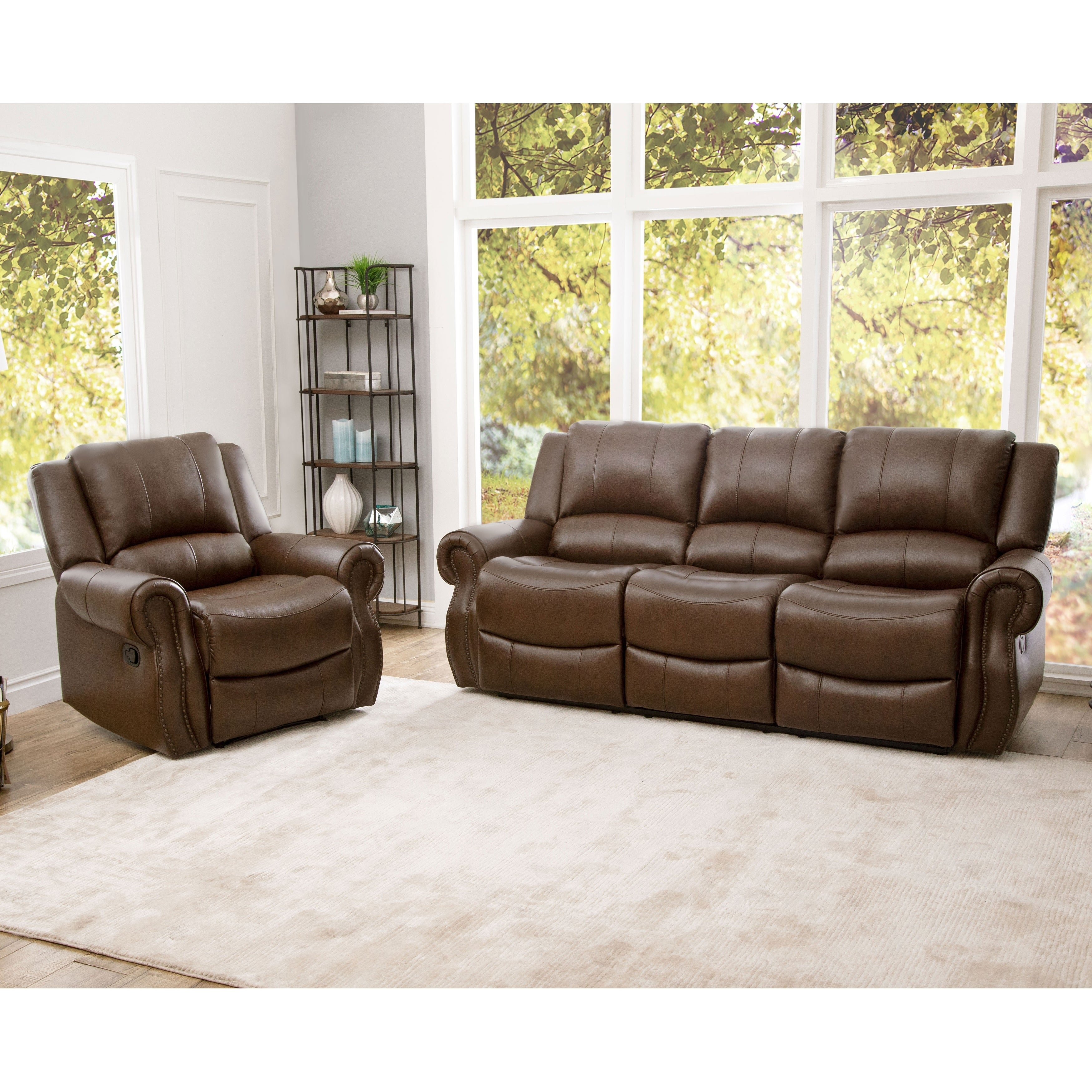 Abbyson Calabasas Mesa Brown Leather 2 Piece Reclining Living Room Set (Brown - Faux Leather - Recliners/Sets)