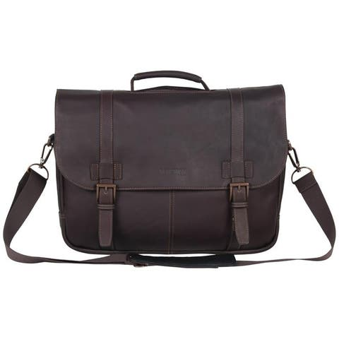 Kenneth Cole Reaction Full-Grain Colombian Leather Double Compartment Flapover 15.6in Laptop & Tablet Business Portfolio