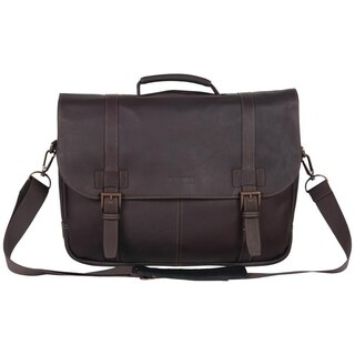 Kenneth Cole Reaction Colombian Leather Double Compartment Flapover 15.6in Laptop Business Portfolio