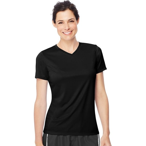 Hanes womens 4 oz. Cool Dri® V-Neck T-Shirt (483V)