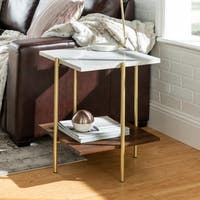 "20"" Square Side Table White Faux Marble / Dark Walnut / Gold - 19 x 19 x 22h"