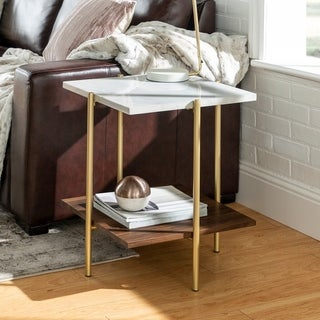 Silver Orchid 19-inch Madsen Square End Side Table, Mid-century Modern for Living Room - 19 x 19 x 22h