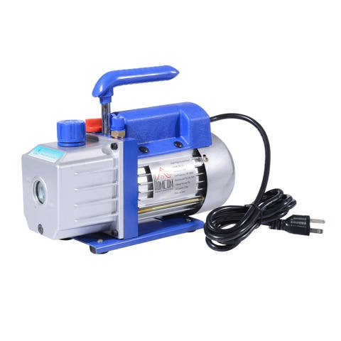 HomCom Single Stage 4 CFM Rotary Vane Vacuum Pump - Blue/Silver