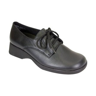 24 HOUR COMFORT Piper Women Wide Width Cushioned Leather Lace Up Shoes