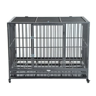 "PawHut 48"" Stainless Steel Elevated Indestructible Dog Kennel Rolling Pet Crate With Dual Pans"