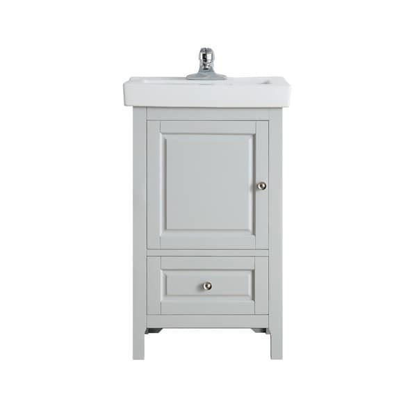 OVE Decors Balvin 20 in. Dove Grey Single Sink Vanity with One piece Porcelain Top