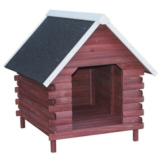 PawHut Wooden Log Cabin Outdoor Elevated Dog House With A-Frame Roof